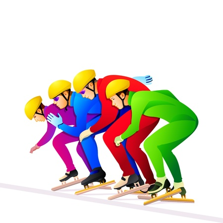 wintersports: Colorful short-track ice-skaters at the start line
