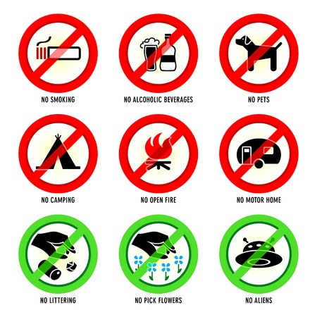 Park prohibited signs and ecology warnings, set I Vector