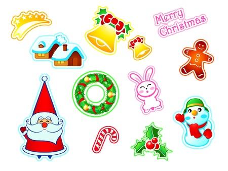 Colorful Nouvel An et autocollants de décoration de Noël Vecteurs