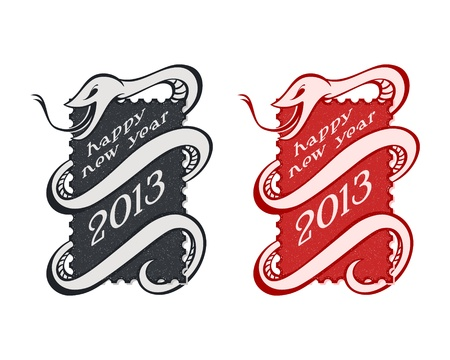 year snake: Vintage New Year serpent or snake stamps isolated