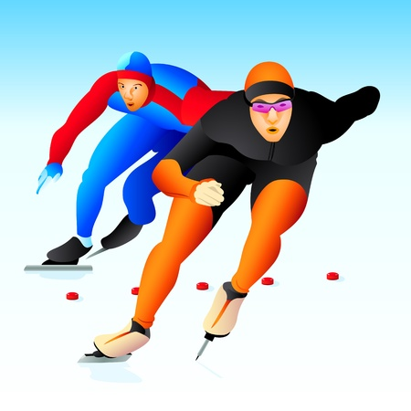 Colorful ice speed skaters at the competion
