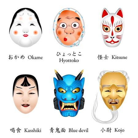 Japanese masks - okame, hyottoko, kitsune, kasshiki, aoi oni (blue devil), kojo Illustration