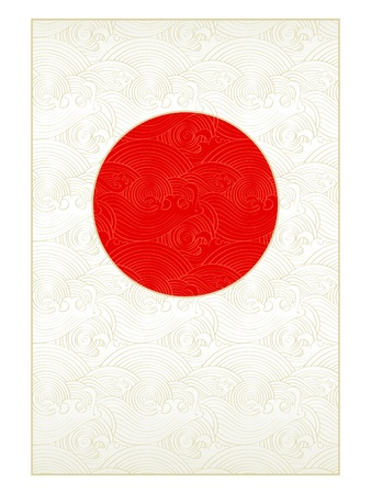 japanese flag: Waves background in form of Japanese national flag