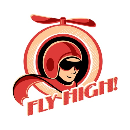 Fly high! retro aviator sticker with propeller Stock Illustratie