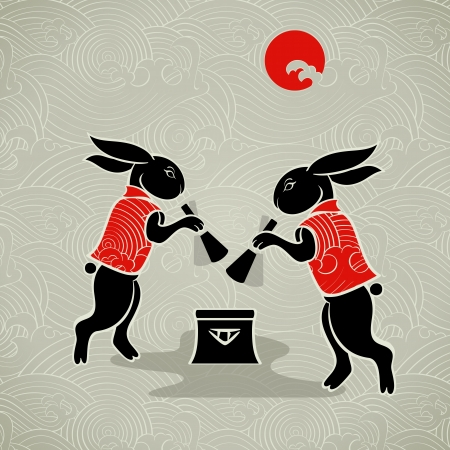 chinese new year rabbit: Japanese moon rabbits making mochi (rice cakes) by mortal and pestle