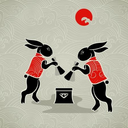 asian bunny: Japanese moon rabbits making mochi (rice cakes) by mortal and pestle