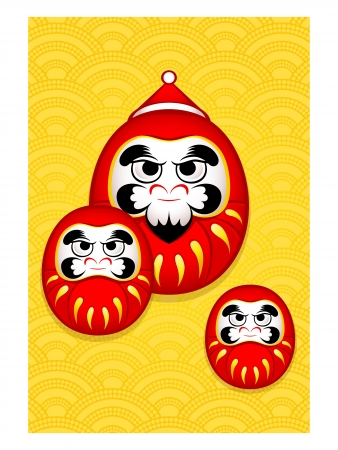 nengajo: Japanese Nengajo New Year card with Santa Daruma