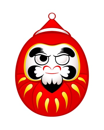 Japanese Daruma doll as Santa Claus sticker Stock Vector - 16111207