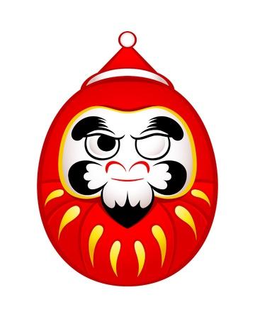 painted face: Japanese Daruma doll as Santa Claus sticker