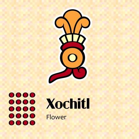 アステカ カレンダー シンボル - Xochitl または花 (20)  イラスト・ベクター素材