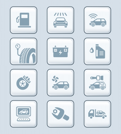 Car care, tuning, repair, and more service icons in gray Vector