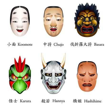 Japanese masks - koomote, chujo, basara, karura, hannya, hashihime Stock Vector - 16434056