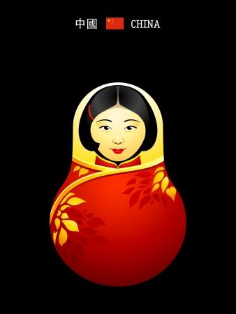 matrioshka: Matryoshkas of the World: chinese girl in qipao dress Illustration