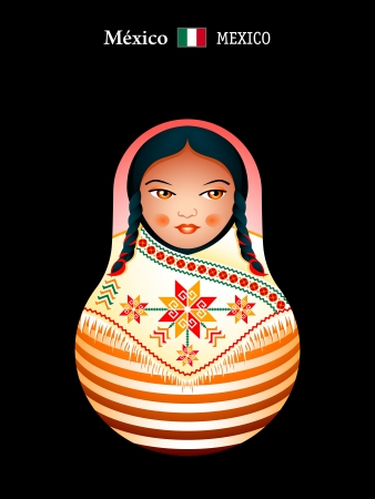 Matryoshkas of the World: mexican indian girl Vector