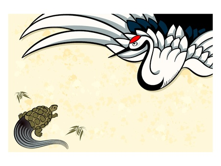 Tsurukame (crane-turtle) New Year nengajo card, symbols of youth and old age Illustration