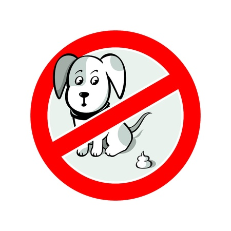 poo: No dogs sign isolated over white Illustration