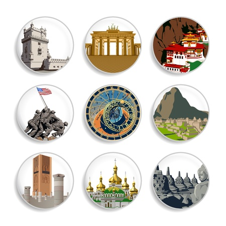 Badges with famous tourist places all around world Stock Illustratie