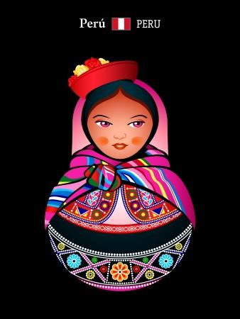 bandera de peru: Matryoshkas del mundo indígena quechua niña