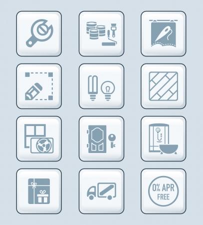 cabine de douche: Services de réparation et d'accueil, rénovation, décoration et atelier de gris icon-set