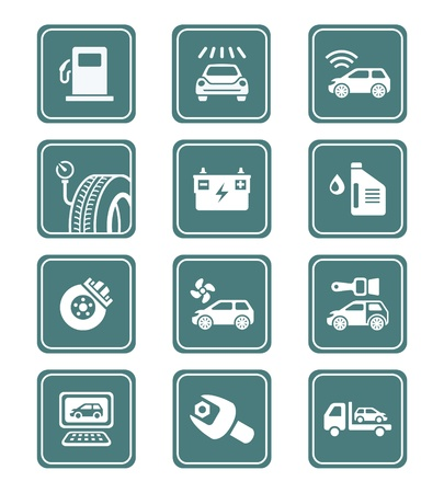 Car care, tuning, repair, and more service icons in teal Vector