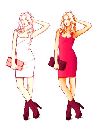 Cool fashion young blonde girl in little red dress isolated Stock Vector - 17350090