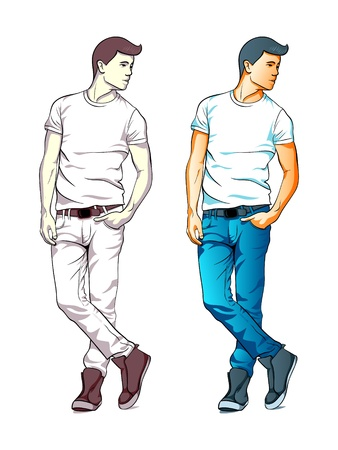 Cool fashion young man in jeans and T-shirt isolated Stock Vector - 17350091