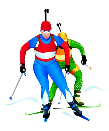 Two biathlon runners at the competition Vector