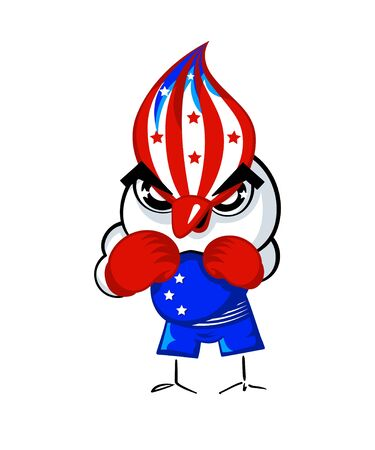 Patriotic boxing bird in USA national flag colors Vector