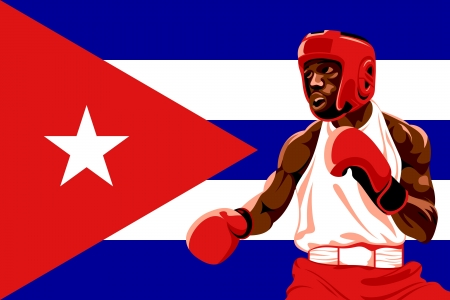 Amateur boxer in protective uniform posing over Cuba flag Vector