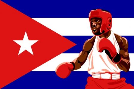 bandera cuba: Boxeador amateur en uniforme protector posando sobre la bandera de Cuba