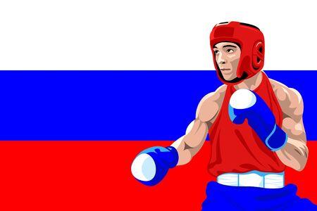 amateur: Boxeador amateur en uniforme posando sobre protección Bandera de Rusia
