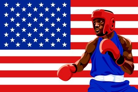amateur: Boxeador amateur en uniforme posando sobre protección EE.UU. bandera