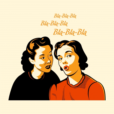 Vintage girls gossiping the latest shocking news 일러스트