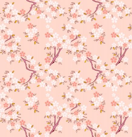 꽃이 만발한: 사쿠라 또는 벚꽃 나무에게 일본어 원활한 패턴을 꽃이 만발한 일러스트