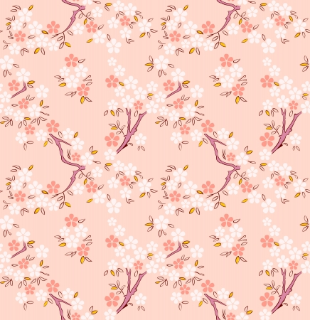 Blossoming sakura or cherry trees japanese seamless pattern Stock Illustratie