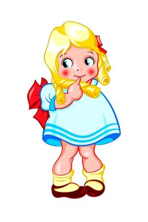 sweet baby girl: Shy poco rizado ni�a dulce aislados