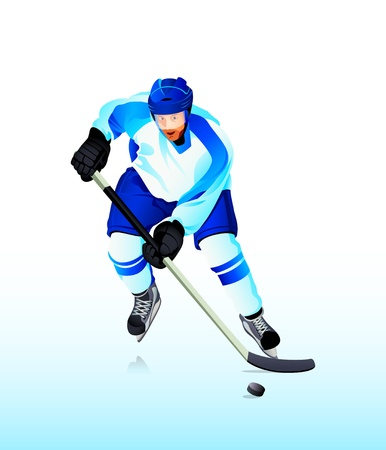 ice hockey player: Colorful hockey player attack on blue ice