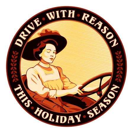 eslogan: Etiqueta engomada de conducci�n Retro mujer con un gui�o y un lema de seguridad Vectores