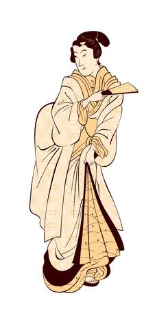 Vintage japanese geisha in beautiful kimono dress Stock Vector - 18093193