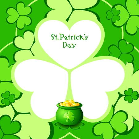 miracle leaf: Lucky pot clover card for St.Patricks day celebration