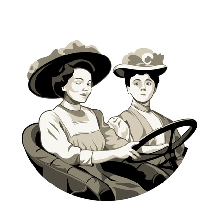 driving school: Vintage driving women in open car isolated