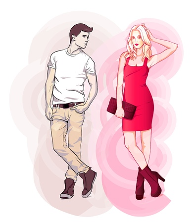 couple dating: Cool fashion young couple dating over swirling background