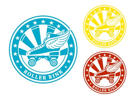 rink: Round roller rink label or sticker in colors isolated