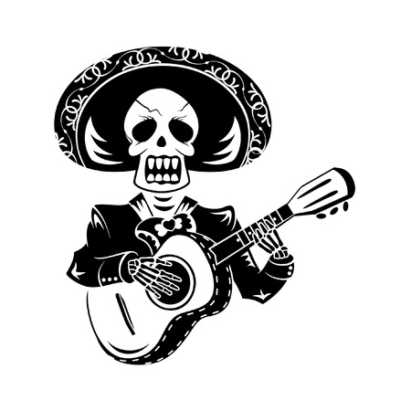 Mariachi guitar player for Day of the Dead Stock Illustratie