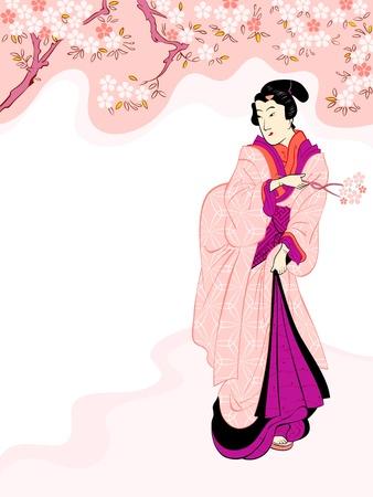 Vintage japanese geisha enjoying cherry tree blossom Stock Vector - 18366309