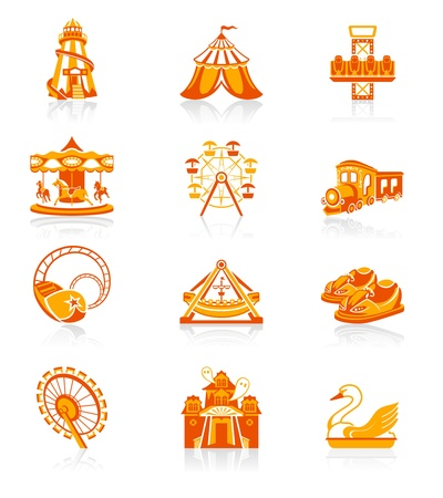 launched: Amusement park or funfair attraction red-orange icon-set