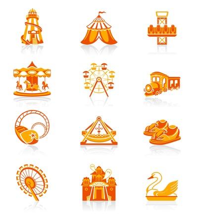 caida libre: Parque de atracciones parque de atracciones o atractivo color rojo-naranja icon-set