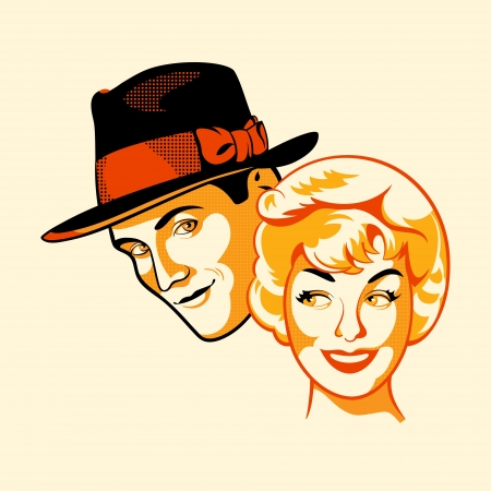 retro man: Vintage flirting couple in three color print halftone pattern
