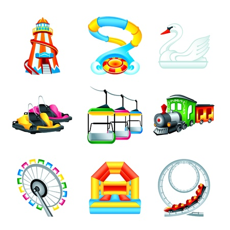 amusement: Colorful amusement park or funfair attraction icons