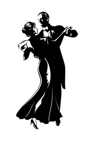 pareja bailando: Aislado cl�sico baile silueta de los pares Vectores